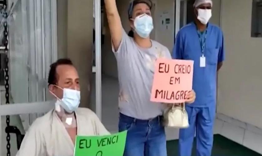 Deone Gualberto foi intubado três vezes, e recebe alta da Covid-19. (foto: Reprodução / TV Subaé)