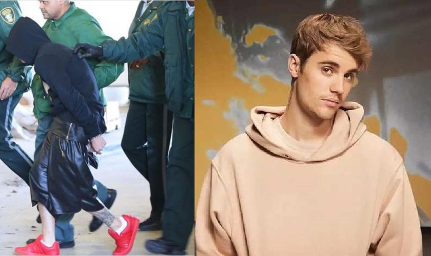 À esquerda, Justin Bieber aparece sendo detido por policiais em Miami, 7 anos atrás, e à direita, já em 2020, após optar por uma vida mais próxima de Deus. (Imagem: Instagram / Divulgação)