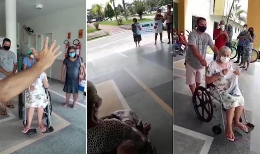 Idosa de 73 anos recebe alta de hospital no AC após 11 dias internada com Covid-19. (Foto: Montagem do Guiame/Arquivo pessoal)