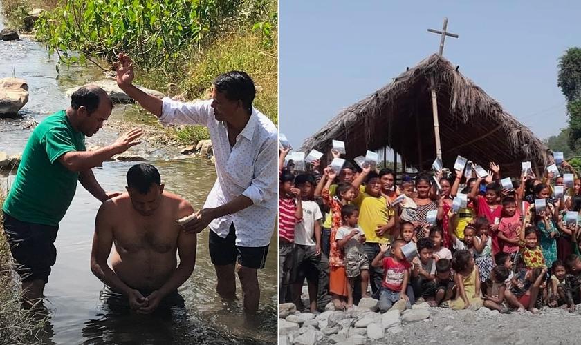 Batismo e cristãos em uma das igrejas plantadas pelo Pr. Kulbhadur no Nepal. (Foto: Reprodução / Pr. Kulbhadur)