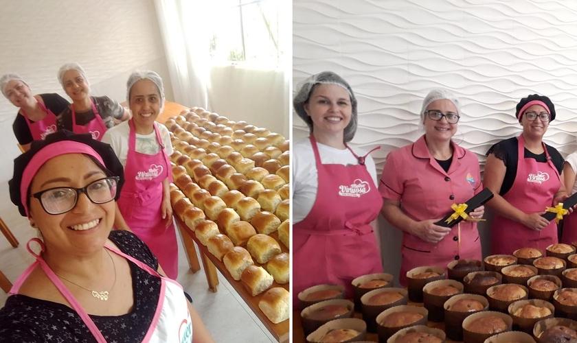 Equipe de mulheres da AD Guaíba produz cerca de 300 pães semanalmente. (Foto: Divulgação/AD Guaíba)