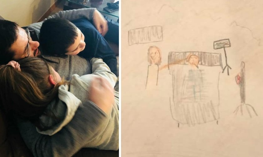Carson sendo recebido em casa após alta; ao lado, desenho feito pela filha: Jesus com a mão sobre a cabeça de Carson enquanto ele estava internado. (Foto: Reprodução / Facebook)
