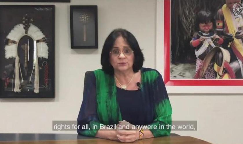 Ministra Damares Alves em reunião do Conselho de Direitos Humanos da ONU. (Foto: Divulgação/ONU)
