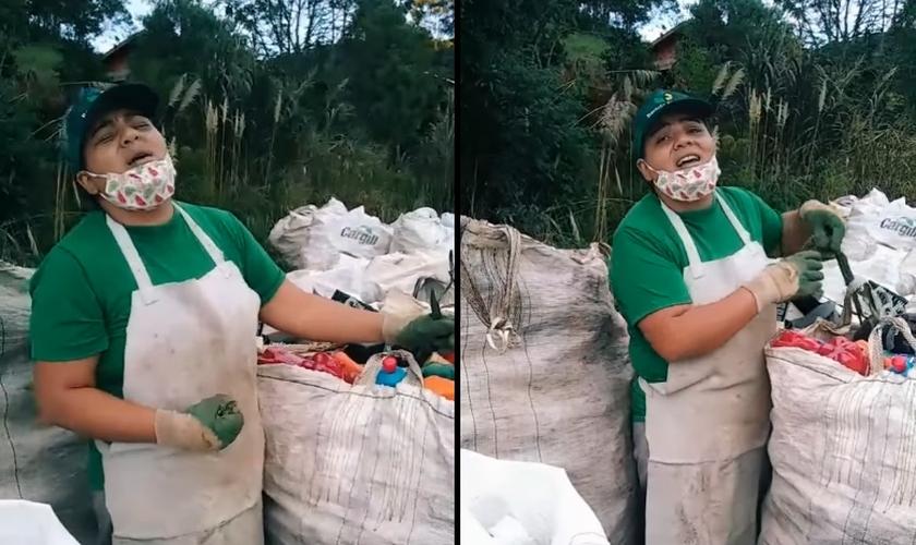 Ana Paula foi filmada cantando enquanto fazia coleta de material reciclado. (Foto: Reprodução/TikTok)