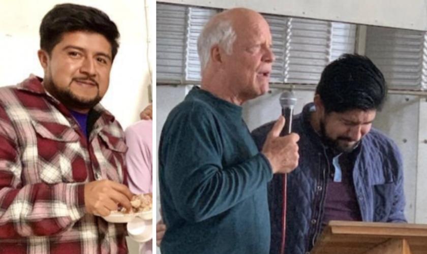 Chucho [à esquerda]; Nazareth recebe oração do missionário Ed. (Foto: Reprodução / God Reports)