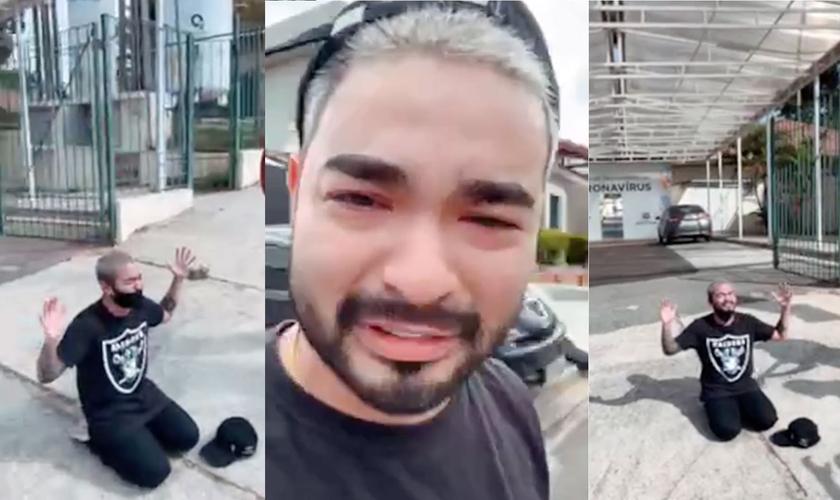 O cantor Yudi Tamashiro orou pelos pais com Covid-19 em frente ao hospital que estão internados. (Foto: Reprodução/Instagram).