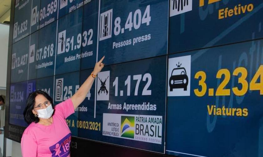 Ministra Damares Alves comemora números da Operação Resguardo. (Foto: Reprodução/Twitter)
