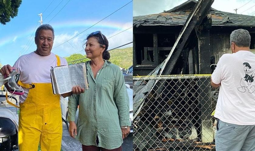 Tony e Tammy Moniz, pais de Kelia Moniz, com a foto da Bíblia intacta; o pai da surfista em frente à casa da família, destruída pelo fogo. (Foto: Reprodução / Instagram).