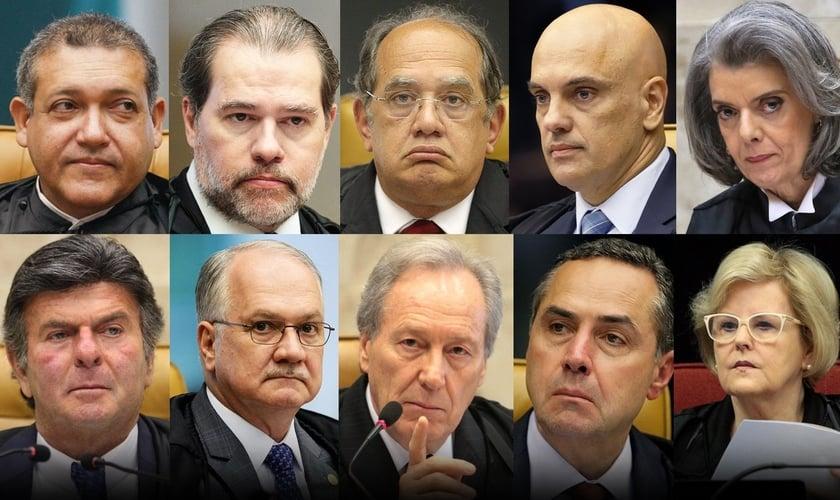 Composição de ministros do Supremo Tribunal Federal. (Foto: Montagem/Guiame)