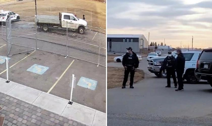 Cercas foram colocadas por policiais ao redor de igreja no Canadá. (Foto: Reprodução/Twitter)