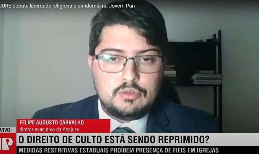 Felipe Augusto Carvalho, diretor executivo da Anajure, fala sobre liberdade de religião na Jovem Pan. (Foto: Reprodução/YouTube)