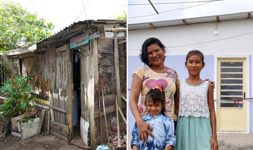 Katiane e as filhas, Kaiany e Layza, foram beneficiadas com uma casa. (Foto: Alex Simões)