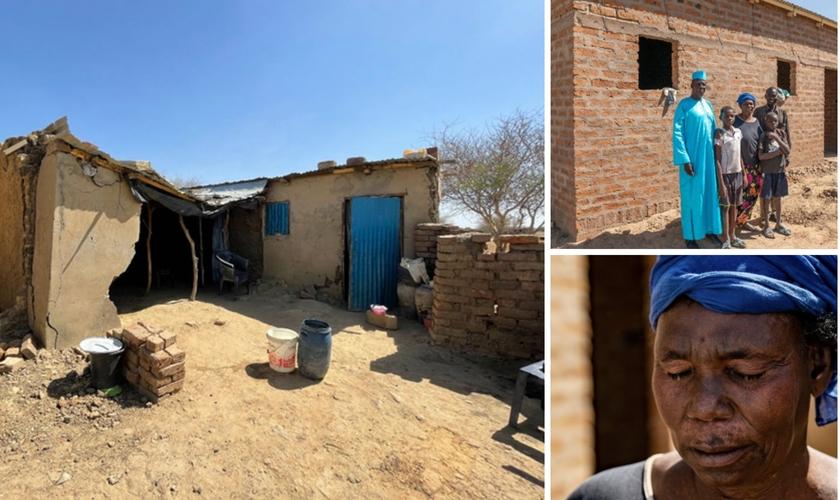 A nova casa de Maria e no destaque a casa destruída pela enchente. (Foto: New Covenant Missions)