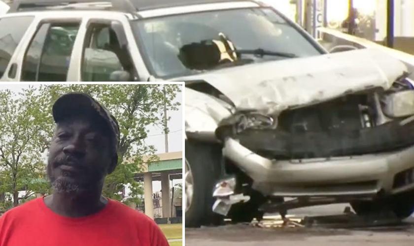 Freddie Finkley e o carro acidentado de Eric Lopez. (Foto: Reprodução / GOD TV)