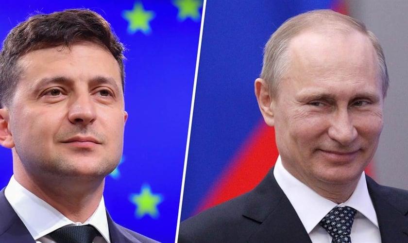 Volodymyr Zelensky, presidente da Ucrânia e Vladimir Putin, presidente da Rússia. (Foto: Reprodução / NBC News)