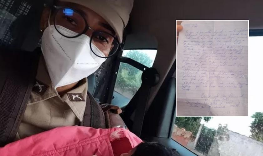 Recém-nascida é encontrada em caixa de papelão em Salvador com carta escrita por possíveis pais. (Foto: Divulgação / PM)