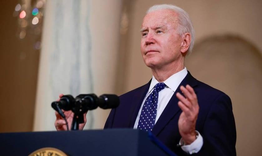 Presidente dos Estados Unidos, Joe Biden, durante discurso na Casa Branca. (Foto: Tom Brenner/Reuters)
