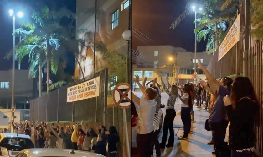 Membros da Paróquia São Judas e Assembleia de Deus Perus foram orar em frente ao hospital. (Foto: Instagram/Rebeca Nemer)