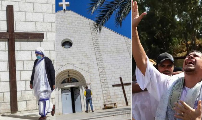 Cristãos locais e peregrinos na Terra Santa. (Foto: Richard T. Nowitz / Getty / Gali Tibbon / AFP)