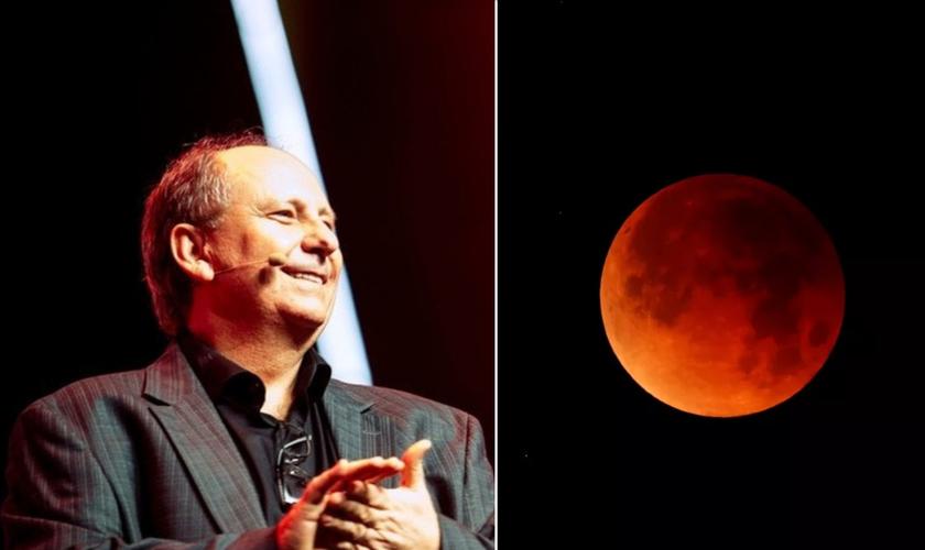 Fenômeno Lua de Sangue e Pr. Lamartine Posella. (Foto: Reprodução / YouTube)