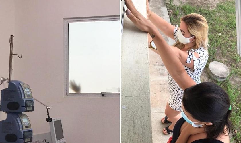 Filhas oram do lado de fora da janela do hospital no RN pela mãe. (Foto: Arquivo pessoal)