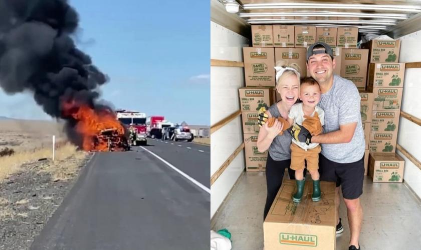 A fotógrafa Amy Demos testemunhou como Deus protegeu sua família de perder todos os seus pertences em um acidente. (Foto: Reprodução/Instagram).