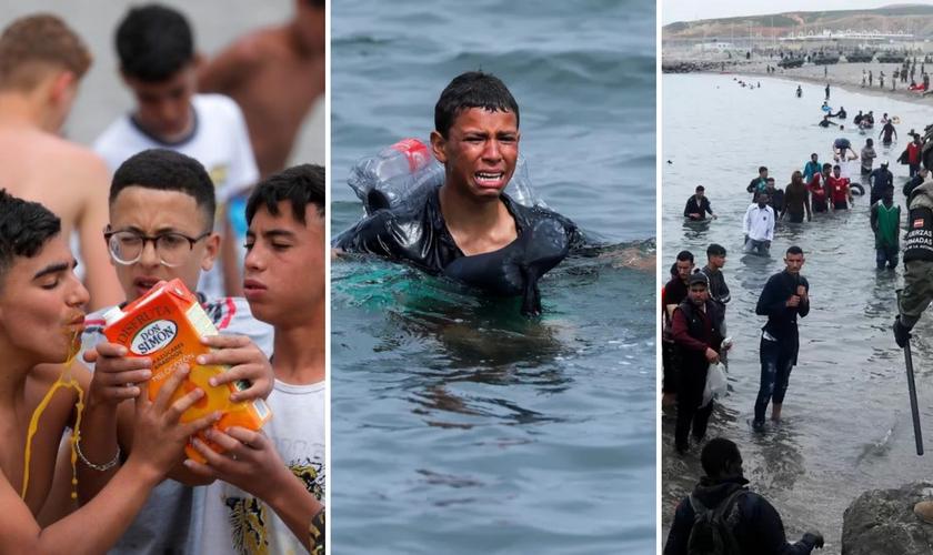 Imagens de migrantes que chegam pela praia em Celta. (Foto montagem: Jon Nazca/Reuters)