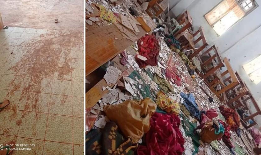 Destroços de igreja que sofreu ataque em 24 de maio. (Foto: Reprodução / CSW)