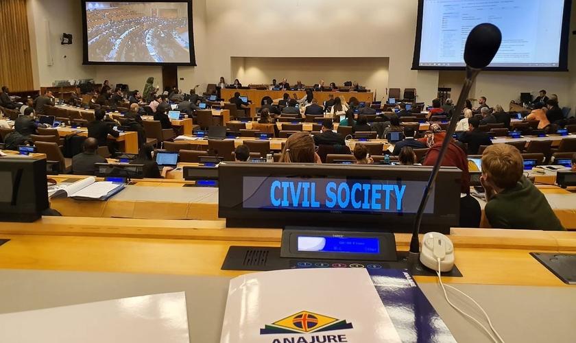 ANAJURE presente na Sessão Anual do Comitê da Organização das Nações Unidas (ONU) sobre Organizações Não Governamentais (ONGs) em janeiro de 2020. (Foto: reprodução / imprensa ANAJURE)
