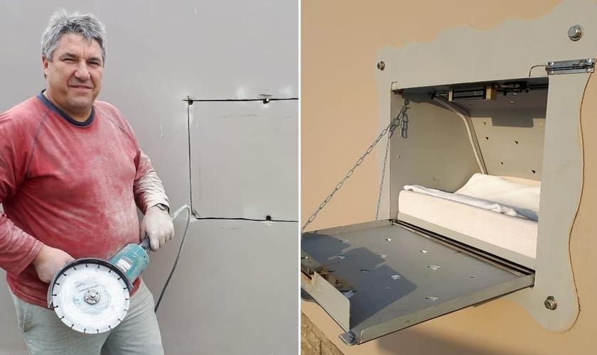Dick Peters durante a instalação da caixa para receber bebês indesejados. (Foto: Ruach Elohim Foundation/Montagem Guiame)