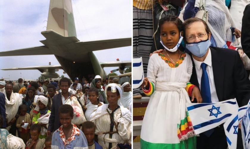 Chegada de judeus etíopes a Israel, em 1991; Presidente do Executivo Isaac Herzog dá as boas-vindas aos olim etíopes na Operação Zur, em 2020. (Foto: IDF / Agência Judia)