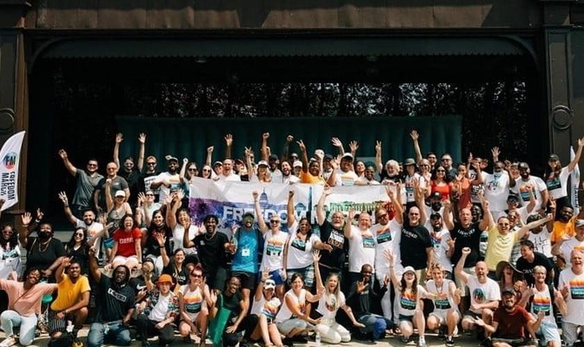 Grupo se reuniu no Sylvan Theatre em Washington, D.C., na Marcha da Liberdade em 5 de junho de 2021. (Foto: Reprodução / Bree Stevens)