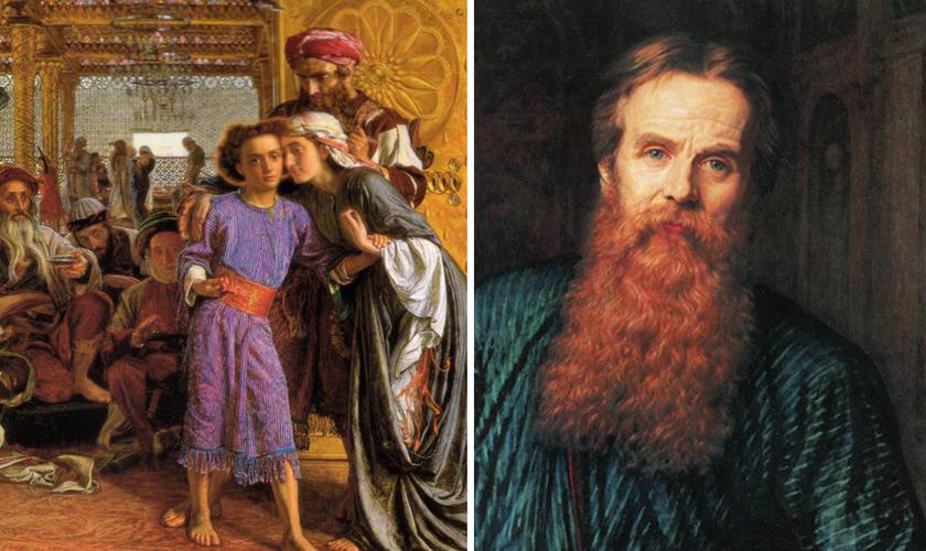 """William Holman Hunt e sua tela """"A descoberta do Salvador no templo"""". (Foto: Reprodução / Wahoort)"""