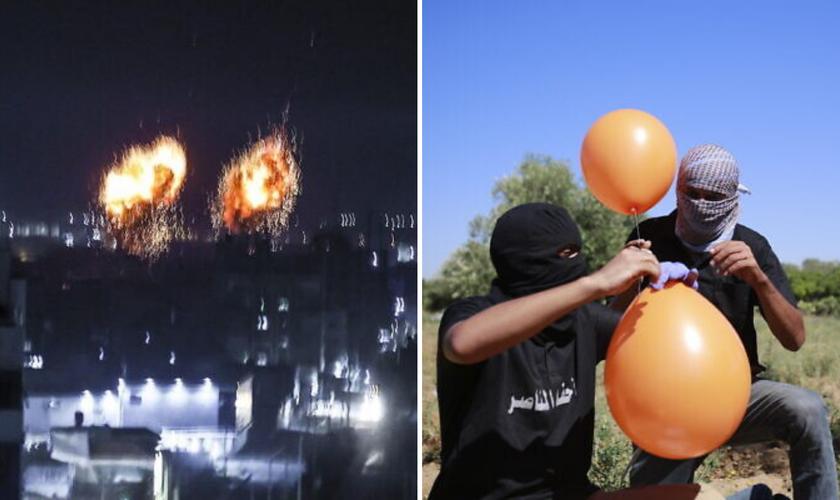 Israel atinge alvos do Hamas, após ataque com balões incendiários pelo grupo terrorista. (Foto: Reprodução / Times of Israel)