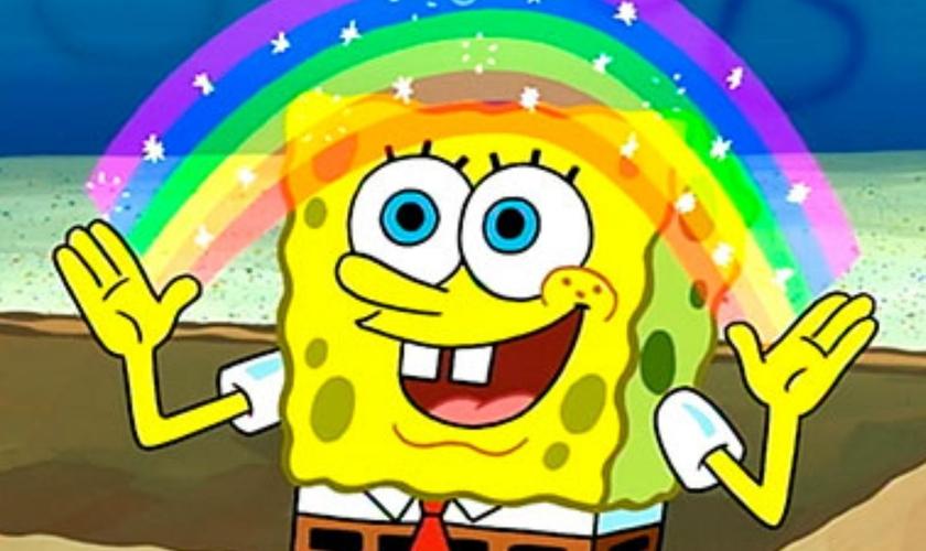 Em 2020, a Nickelodeon assumiu oficialmente que Bob Esponja é um personagem LGBT. (Foto: Pinterest)