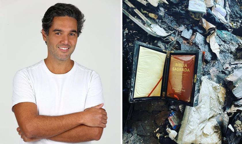 Ator mostrou Bíblia que ficou intacta em incêndio que destruiu sua casa. (Foto: Instagram/Fernando Sampaio|Montagem Guiame)