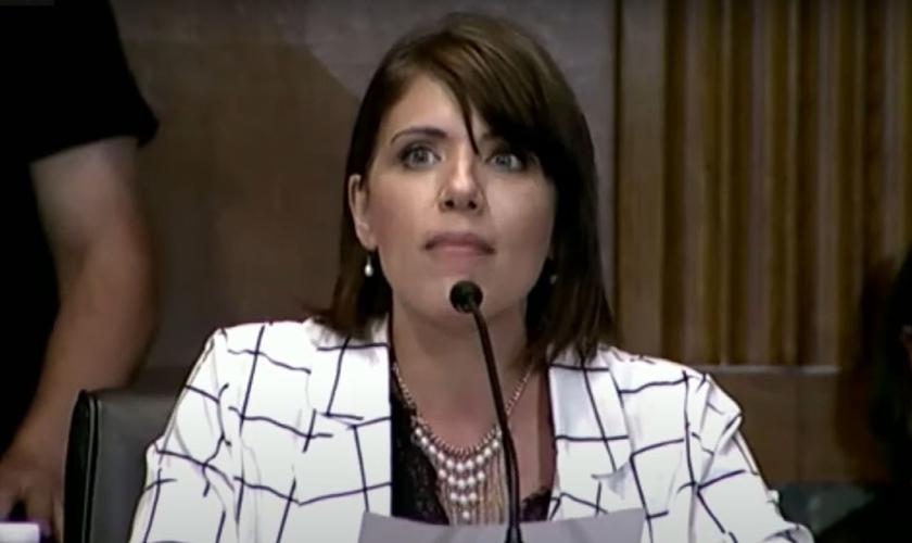 Melissa Ohden, sobrevivente de um aborto, vai ao Congresso protestar contra a Lei de Proteção à Saúde da Mulher. (Foto: Reprodução/YouTube)