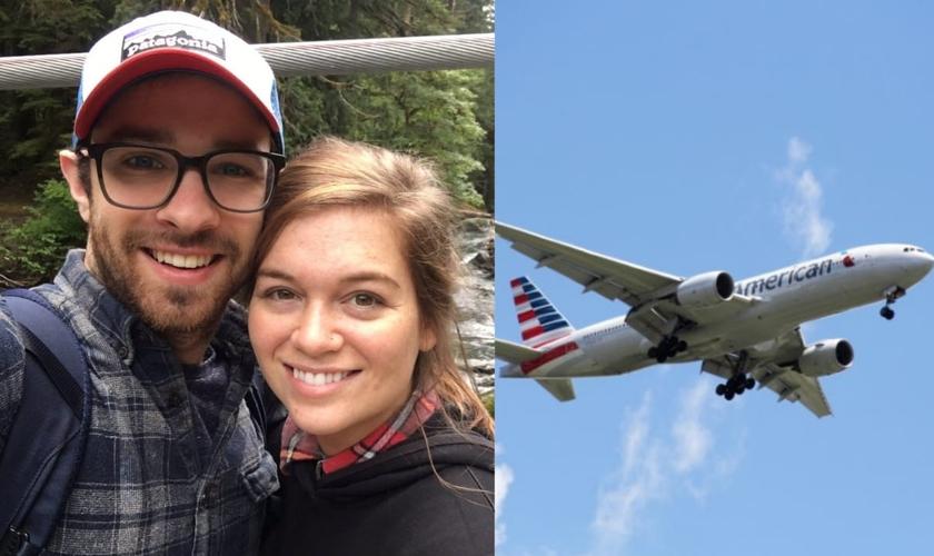 Kyle Donn e a esposa Brittany viajavam no voo 2775 da American Airlines, que havia acabado de decolar de Charlotte e se dirigia para Seattle, nos Estados Unidos, no domingo (30). (Foto: Reprodução/Facebook).