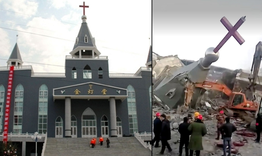 Igreja Golden Lampstand, na China, sendo destruída, em 2018. (Foto: Reprodução Veja Abril)
