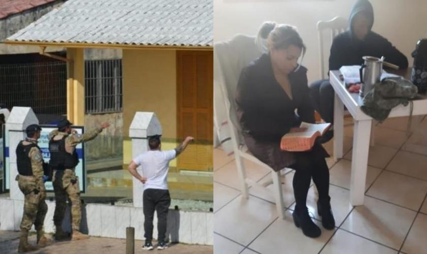 Um dos momentos de negociação entre PM e sequestrador. Foto de Késia lendo a Bíblia durante o sequestro tirada pelo próprio sequestrador. (Foto: Romildo Black/Portal Amorim).