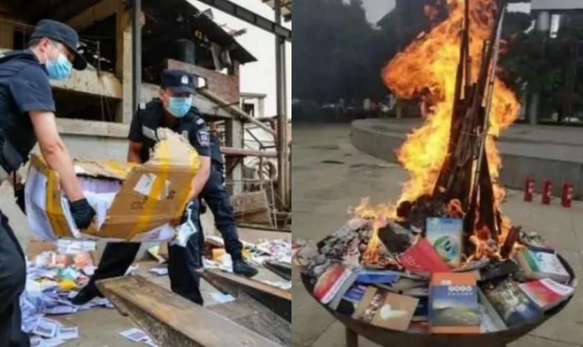 """No total, 5 toneladas de """"material religioso ilegal"""" foram queimados na cerimônia piloto. (Foto: Bitter Winter)."""