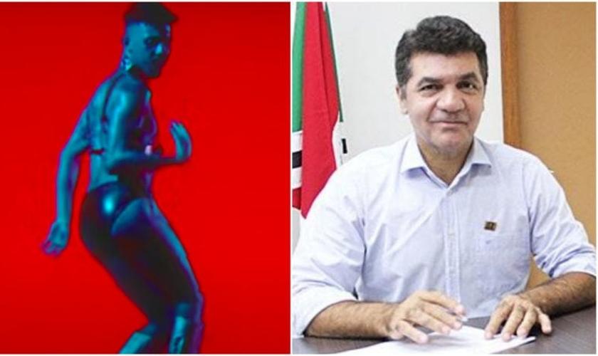 Figura que aparece em clipe e Clésio Salvaro, prefeito de Criciúma. (Foto: Reprodução / ND Mais)