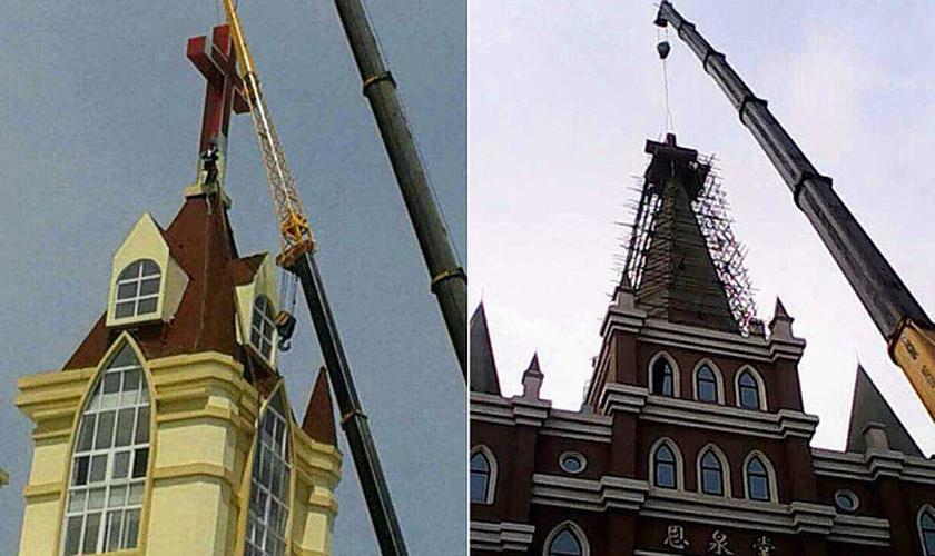Autoridades removem cruz de igrejas na China. (Foto: Telegraph)