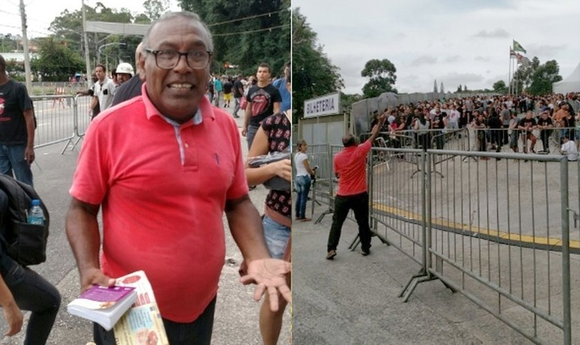 Orlando Torres, membro da igreja Assembléia de Deus, aproveitou a fila do show dos Rolling Stones para evangelizar. (Foto: Renata Nogueira/UOL)