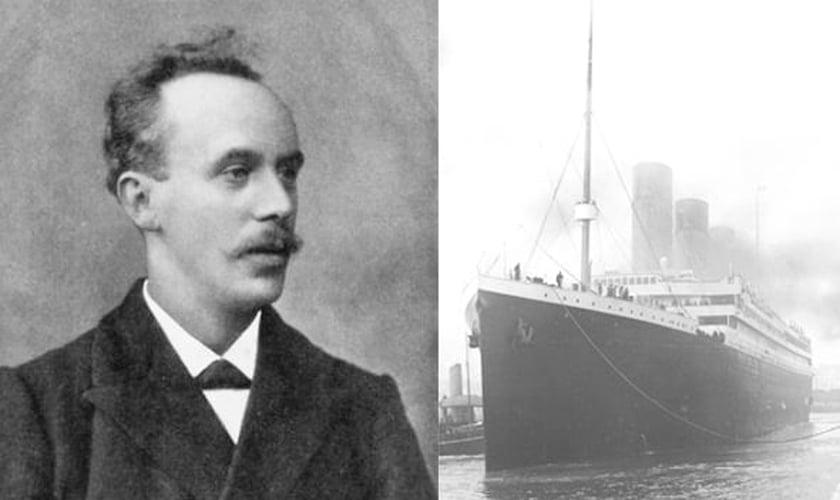 Pastor John Harper e o Titanic no porto de Southampton, na costa sul do Reino Unido, em 10 de abril de 1912. (Foto: Wikipedia)