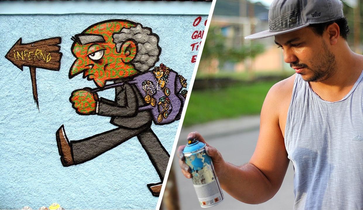 Grafiteiro expressa o amor de Deus em muros do Rio: