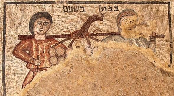 Pesquisadores encontram mosaico que retrata espias enviados por Moisés, em Israel