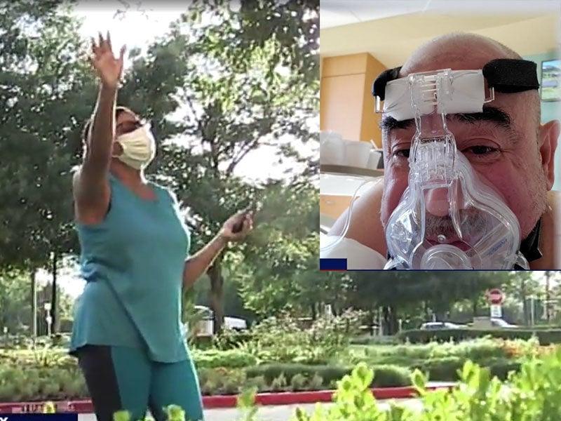 Esposa ora todas as noites por marido com Covid-19 em frente a hospital