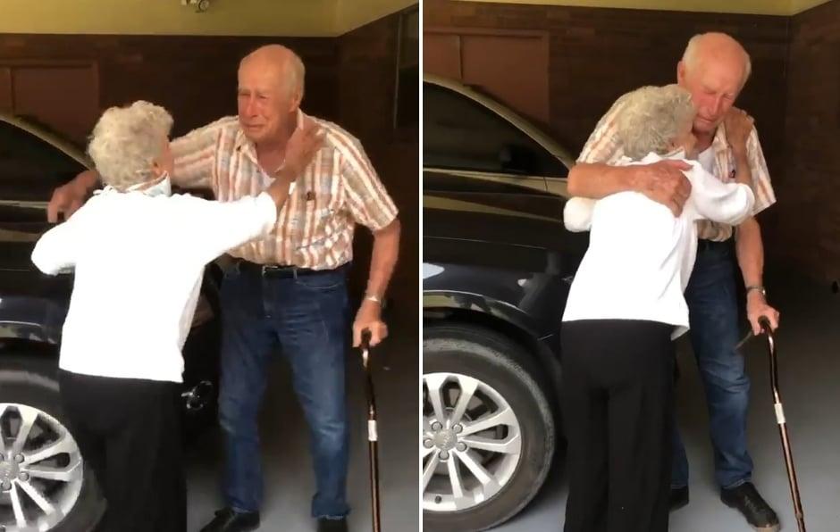 Casal de 90 anos tem reencontro emocionante após estarem separados devido à pandemia