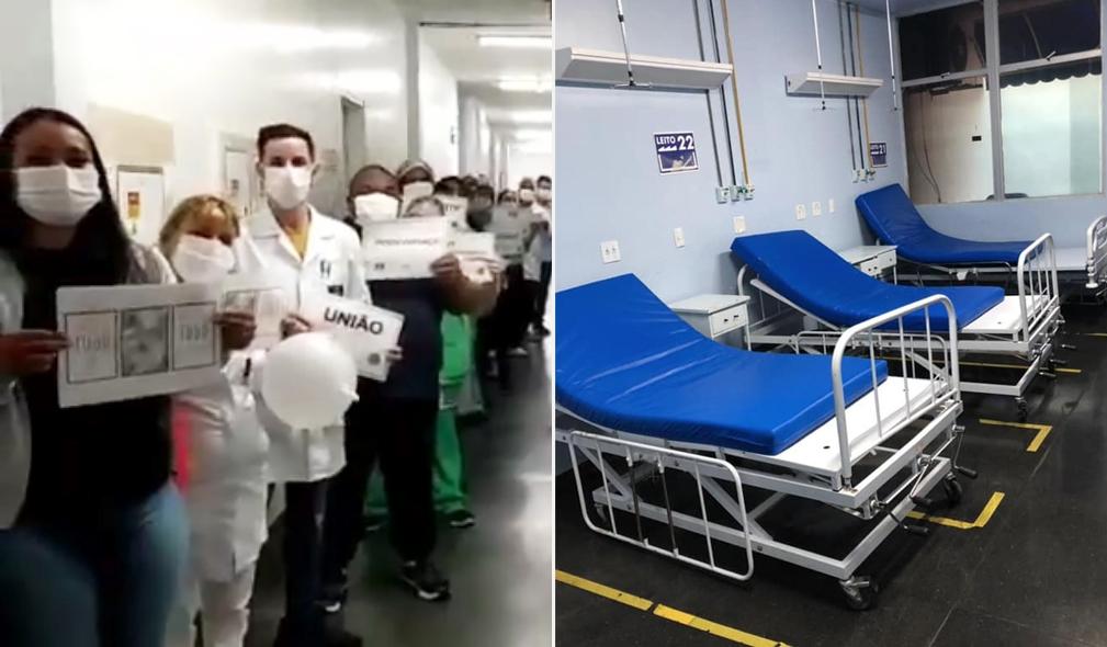 """Funcionários cantam """"Porque Ele Vive"""" ao mostrar ala de Covid-19 vazia pela primeira vez"""